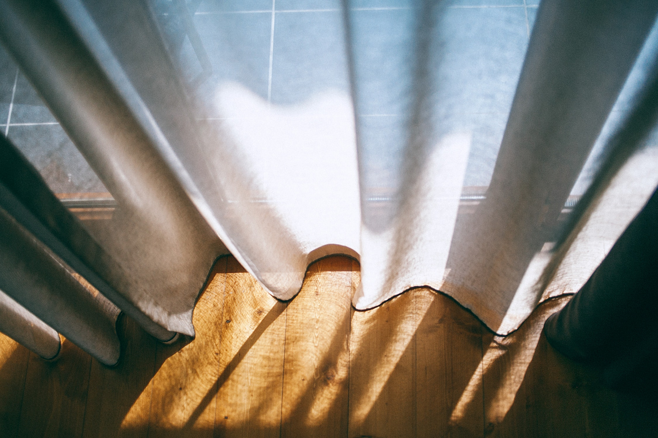 Curtains in the sunlight